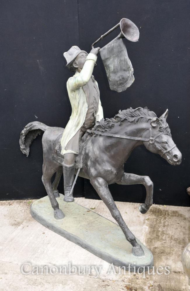 XL Französisch Bronze Huntsman Pferd Architektonische Garten Skulptur