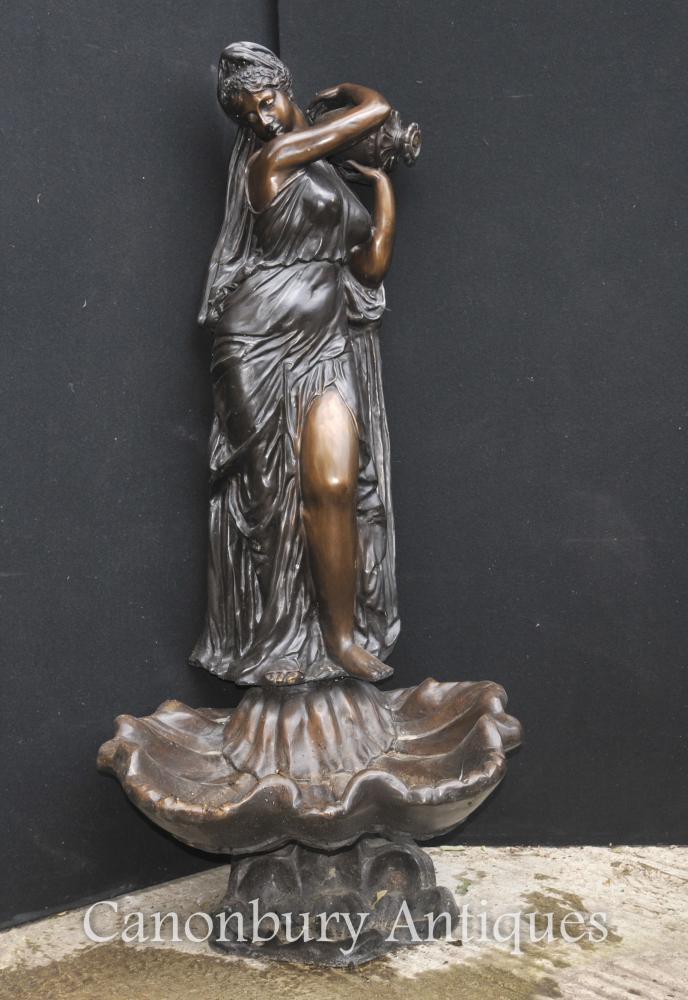 XL Italienische Bronze Weibliche Jungfrau-Brunnen-Tritonshorn-Urnen-Garten-Wasser-Eigenschaft