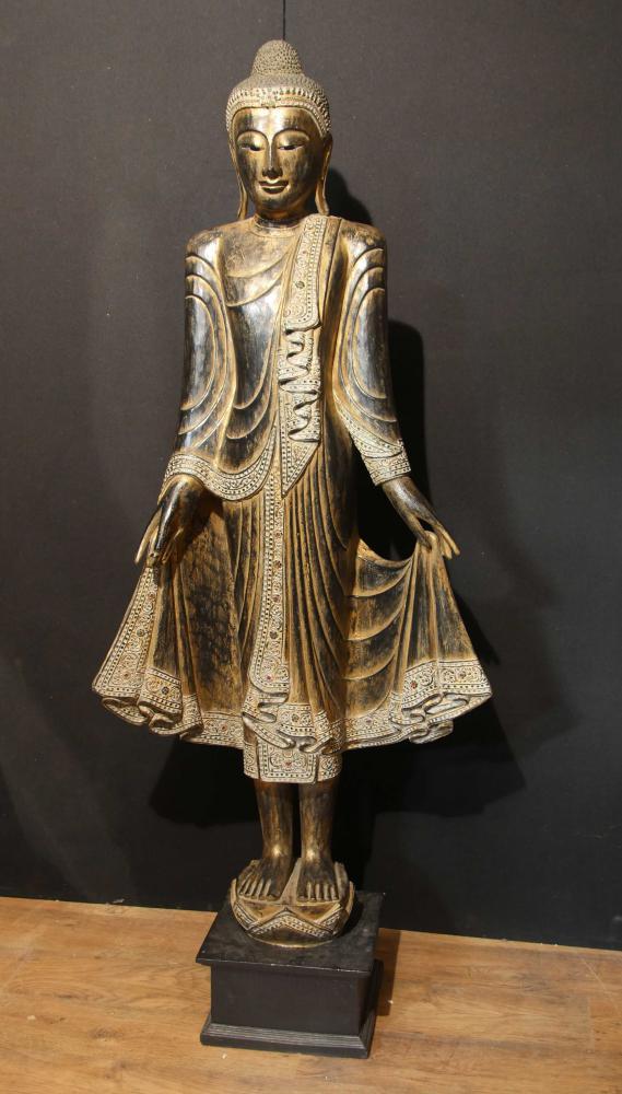 6ft Hand geschnitzte Burmese Mandalay Buddha-Statue Buddhistischer Kunst-Buddhismus