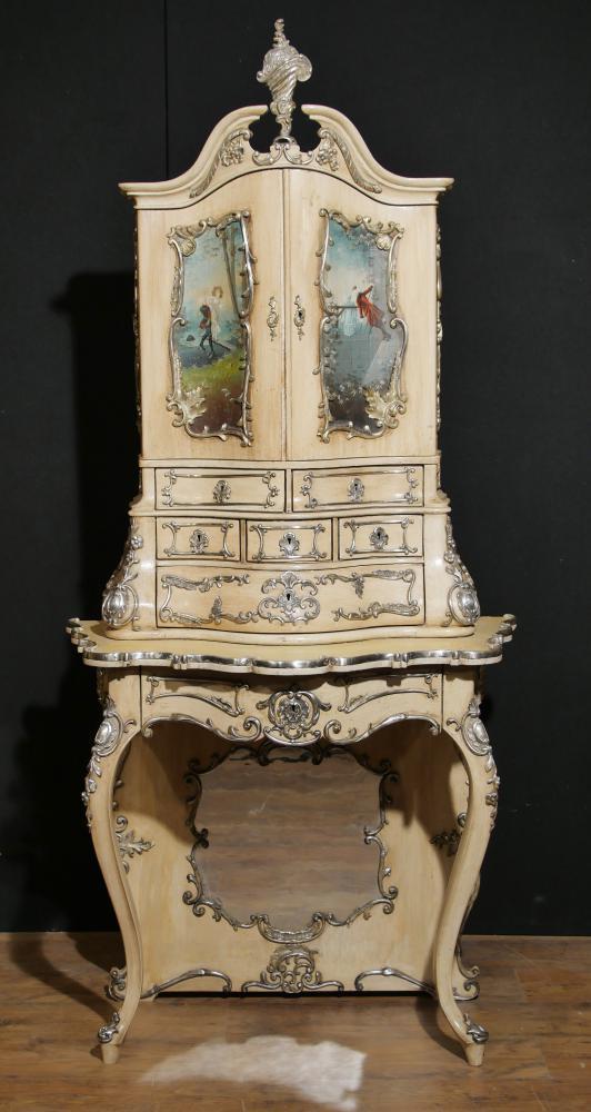 Antike Florentiner Italienische Gemalte Kabinett Büro 1860