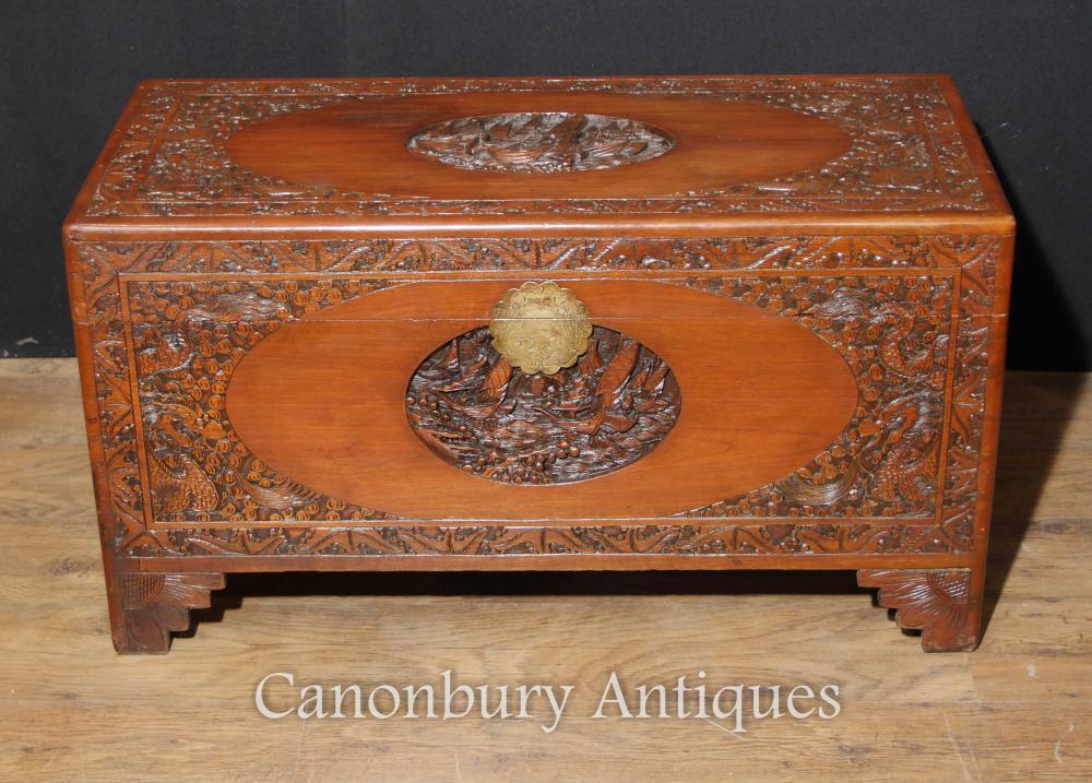 Antike chinesische geschnitzte Kampfer-hölzerne Kasten-Gepäck-Stamm-Tabelle