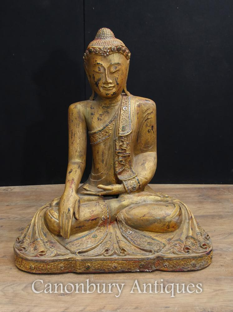 Antike geschnitzte nepalesische Buddha-Statue Buddhistische Kunst-Meditation-Haltung Abhaya Mudra