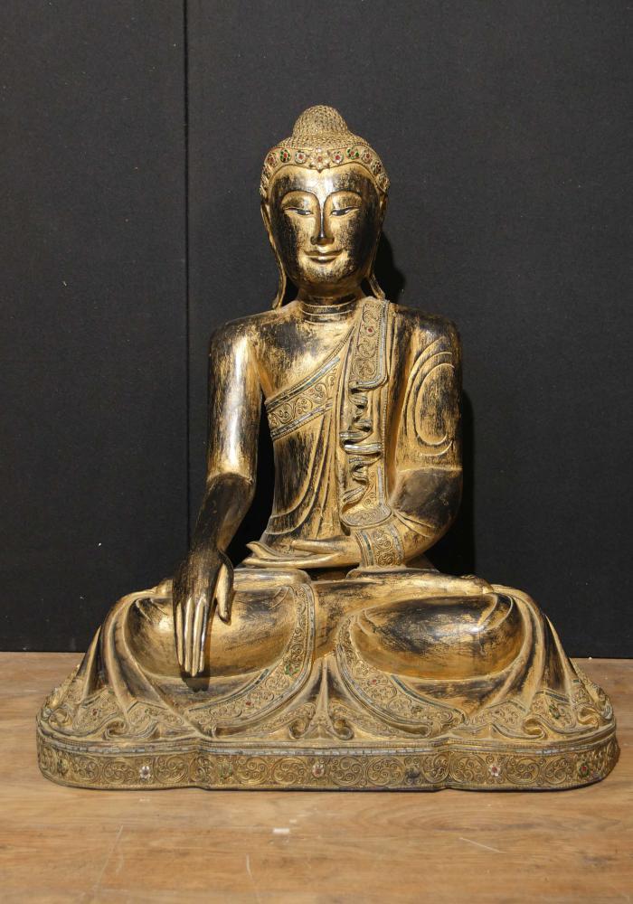 Antike geschnitzte tibetanische Buddha-Statue Hölzerner Gilt Buddhismus 1930