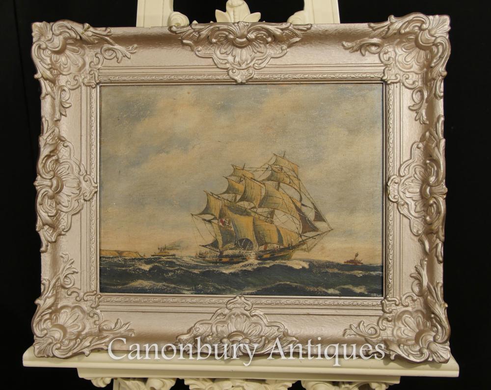 Antike holländische Ölgemälde-Schiffs-Maritime Seascape Art