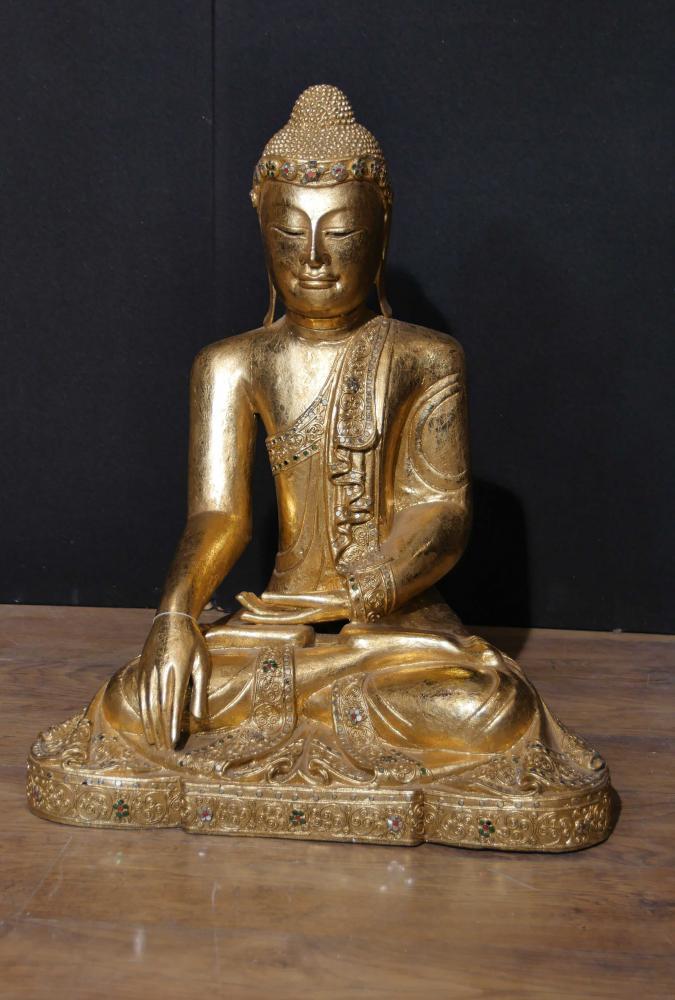 Antike nepalesische Buddha-Statue Buddhismus-Meditation Pose Dhyanasana