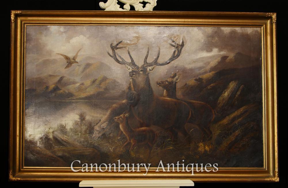 Antike schottische Ölgemälde Monarch der Glen Hirsch Highlands Landschaft