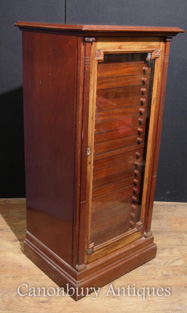 Antike viktorianische Walnuss Muster Schrank Truhe Innenräume Bergung