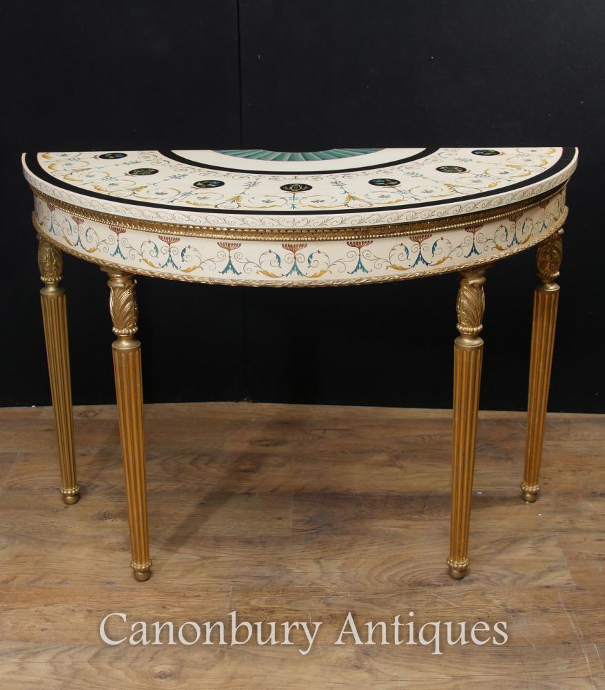 Einzelnes Adams Demi Lune Konsolen-Tabellen-gemalte Tabellen