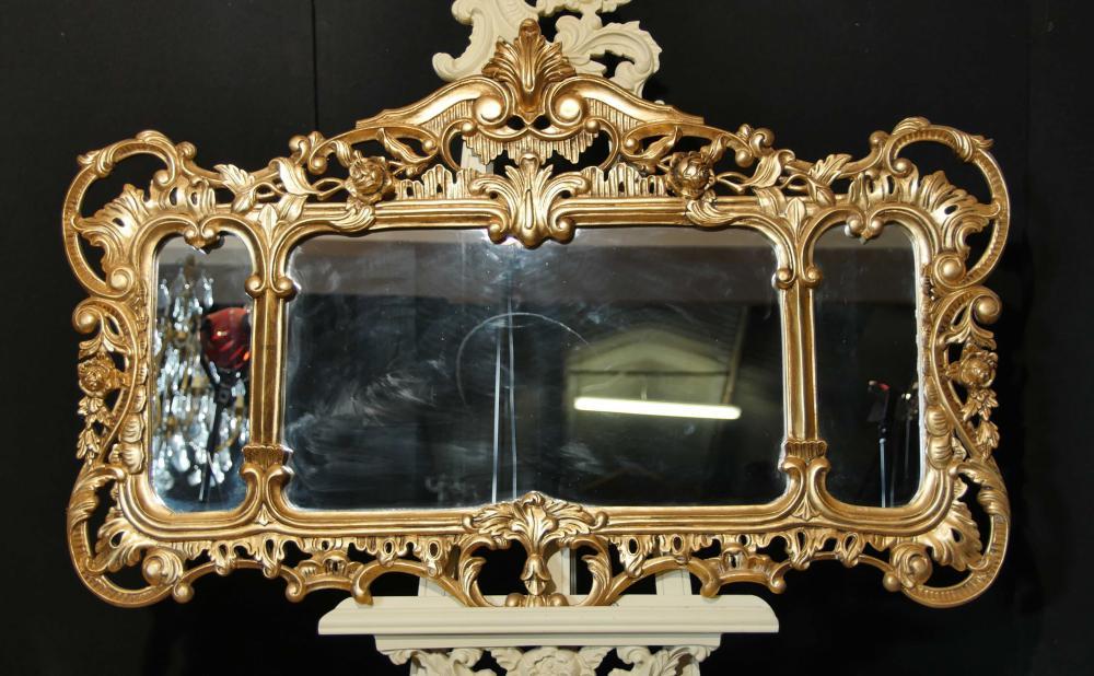 Englisch Chippendale Gilt Mantel Spiegel Rokoko Landschaft Spiegel