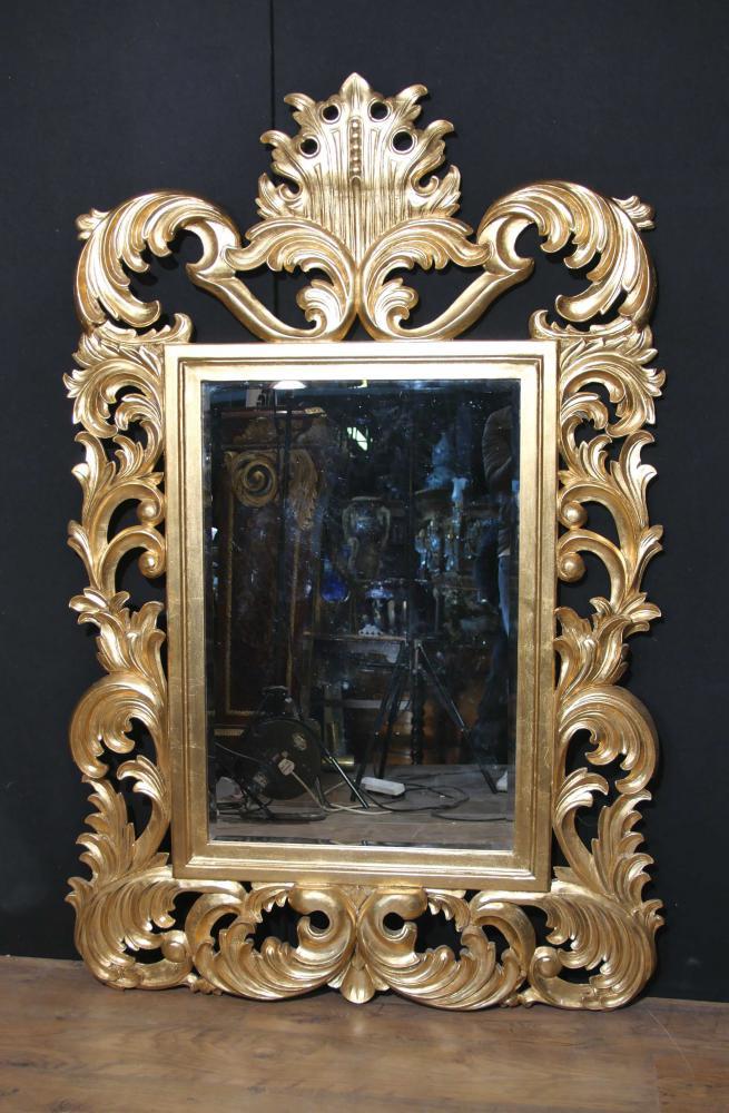 Florid Französisch Rococo Giltwood Pier Spiegelglas