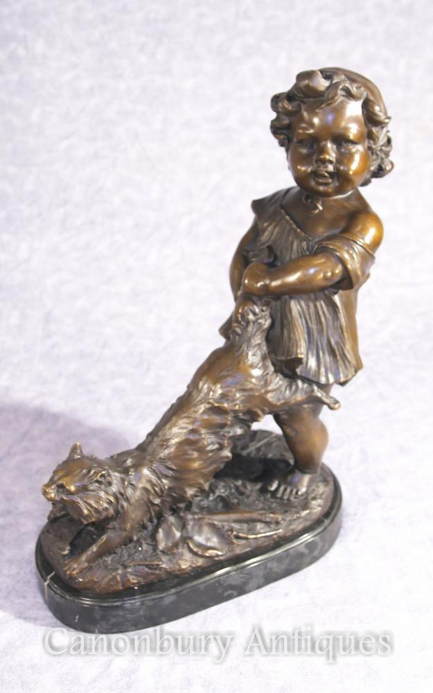Französisch Bronze Mädchen und Katze Statue Figur