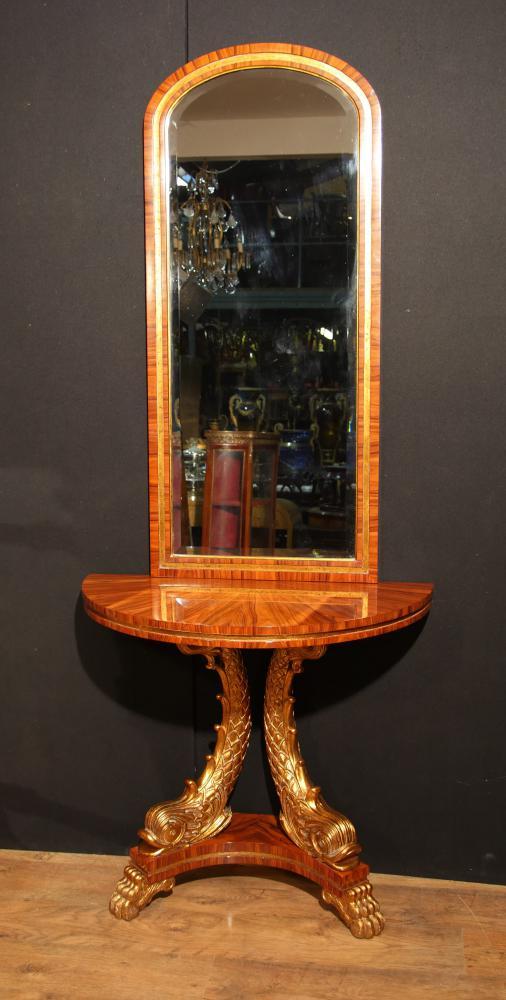 Französische Empire Konsolentisch und Spiegel Set Gilt Serpents