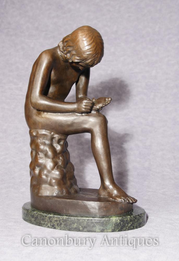 Italienische Bronzestatue Spanario Classica Junge Dornfußfigur Unterzeichnet