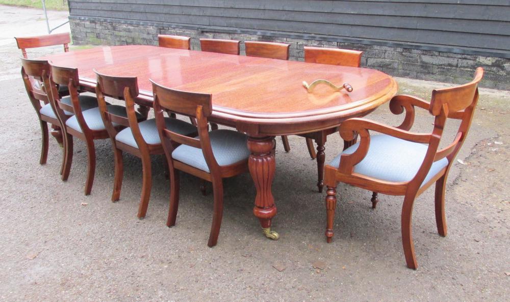 Mahagoni Viktorianische Dining Set Ausziehtisch und 10 Stühle
