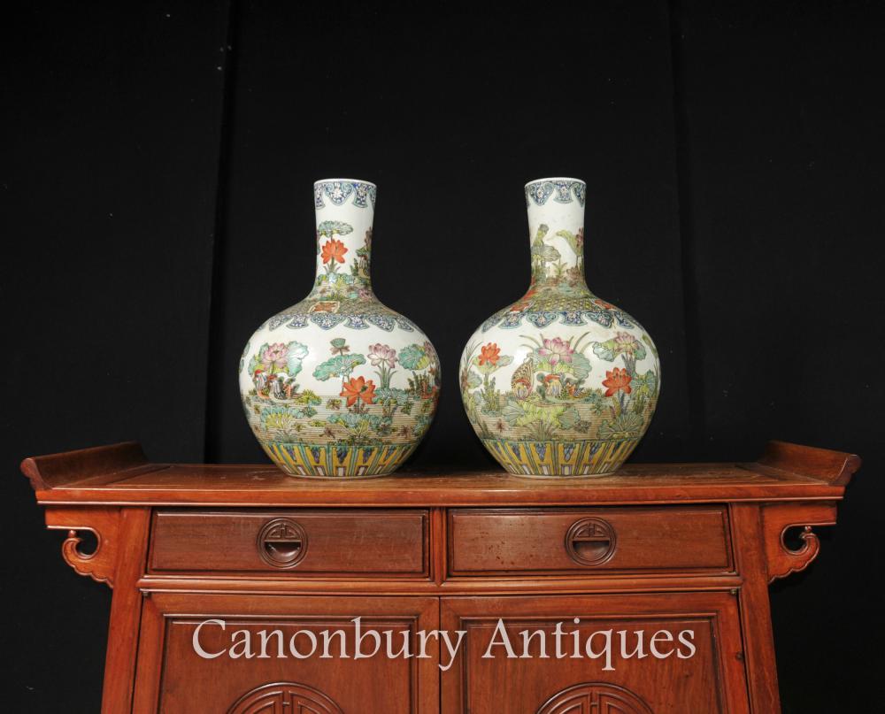 Paar Chinesisch Famille Vert Keramik Vasen Urns Shangping Porzellan