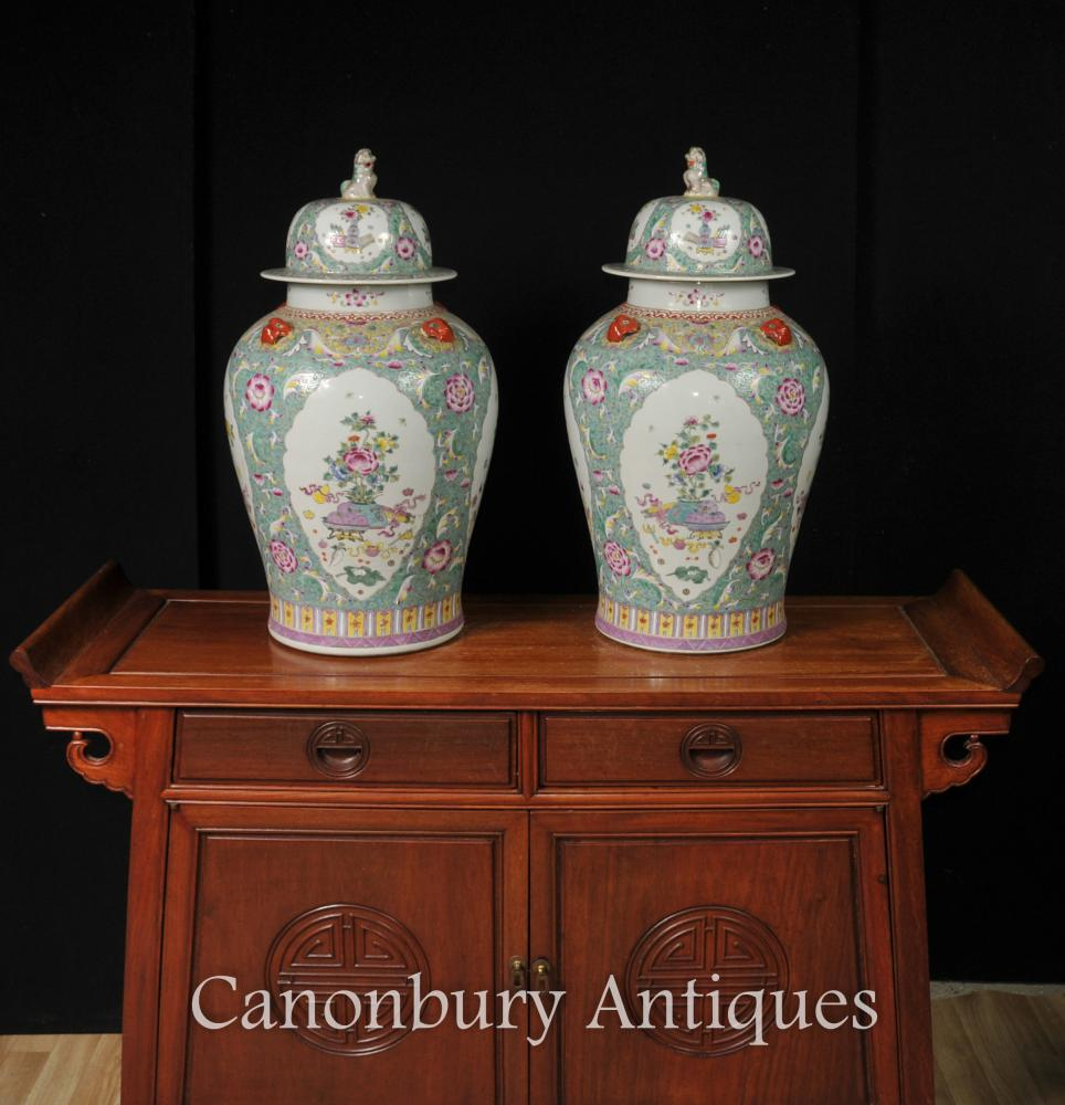 Paar Chinesisch Famille Vert Porzellan Ginger Gläser Tempel Urnen Vasen