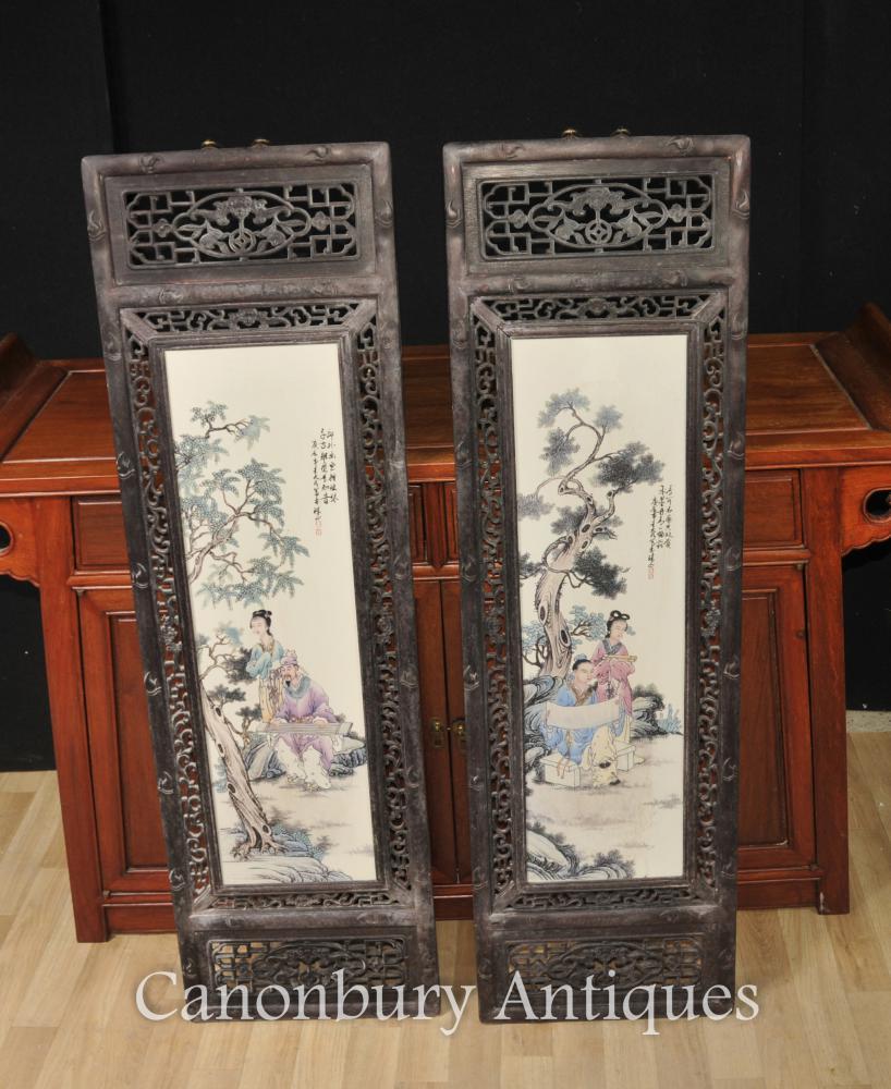 Paar Chinesische Kangxi Porzellan Plaques Bildschirme Hartholz Gestell