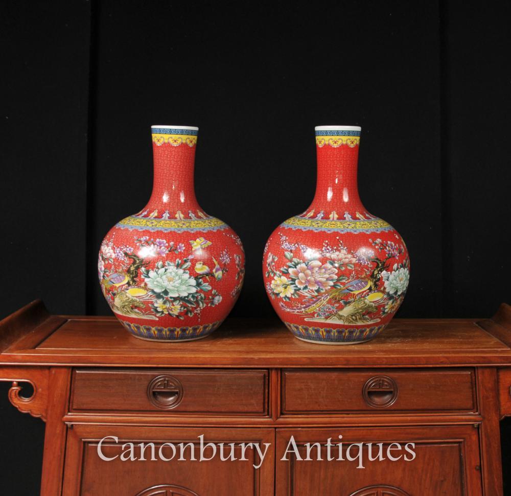 Paar Chinesische Ming Porzellan Urnen Vasen Imperial Red Shangping