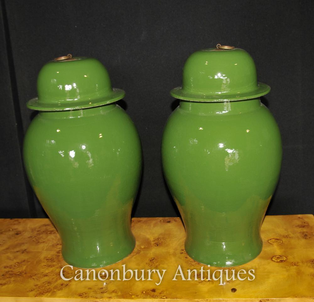 Paar Chinesische Porzellan Deckel Urns Tempel Jar Kangxi Keramik