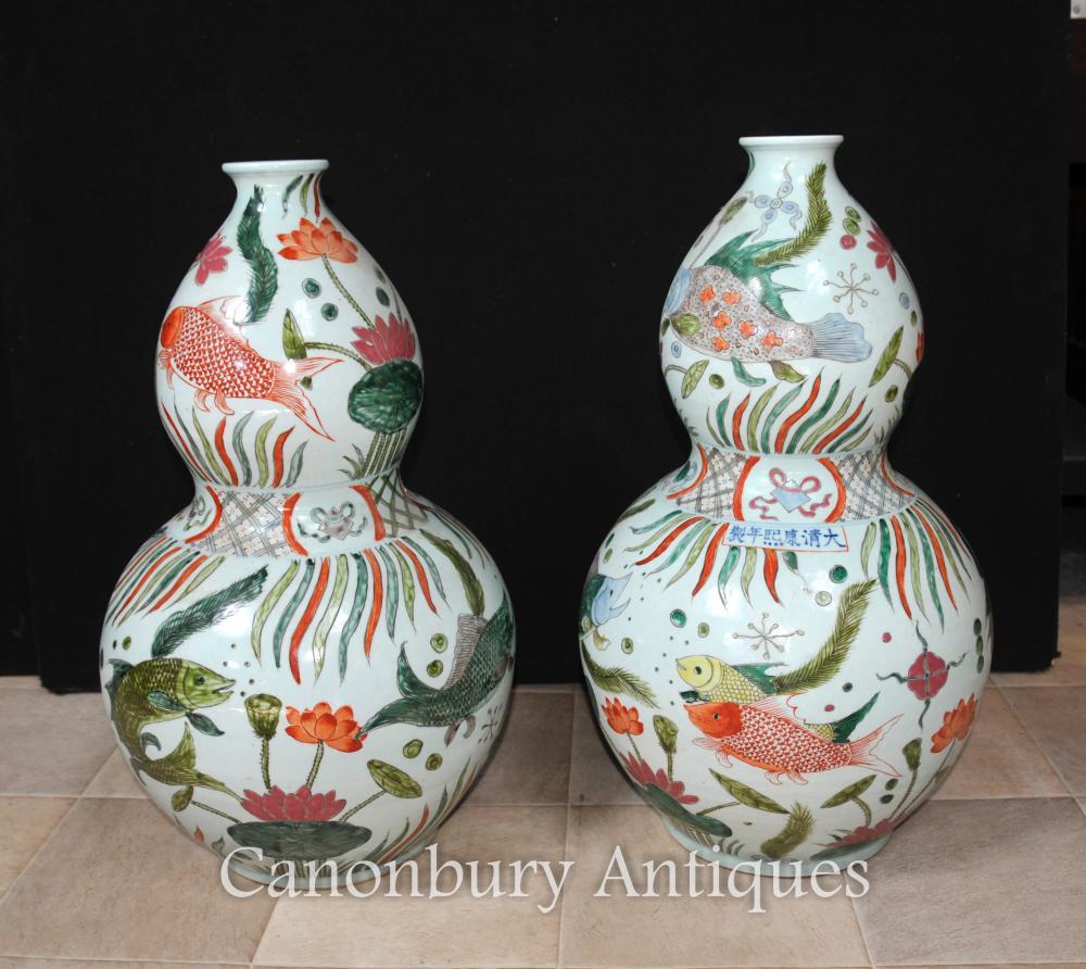 Paar Chinesische Qianlong Porzellan Vasen Urnen Double Gourd Keramik