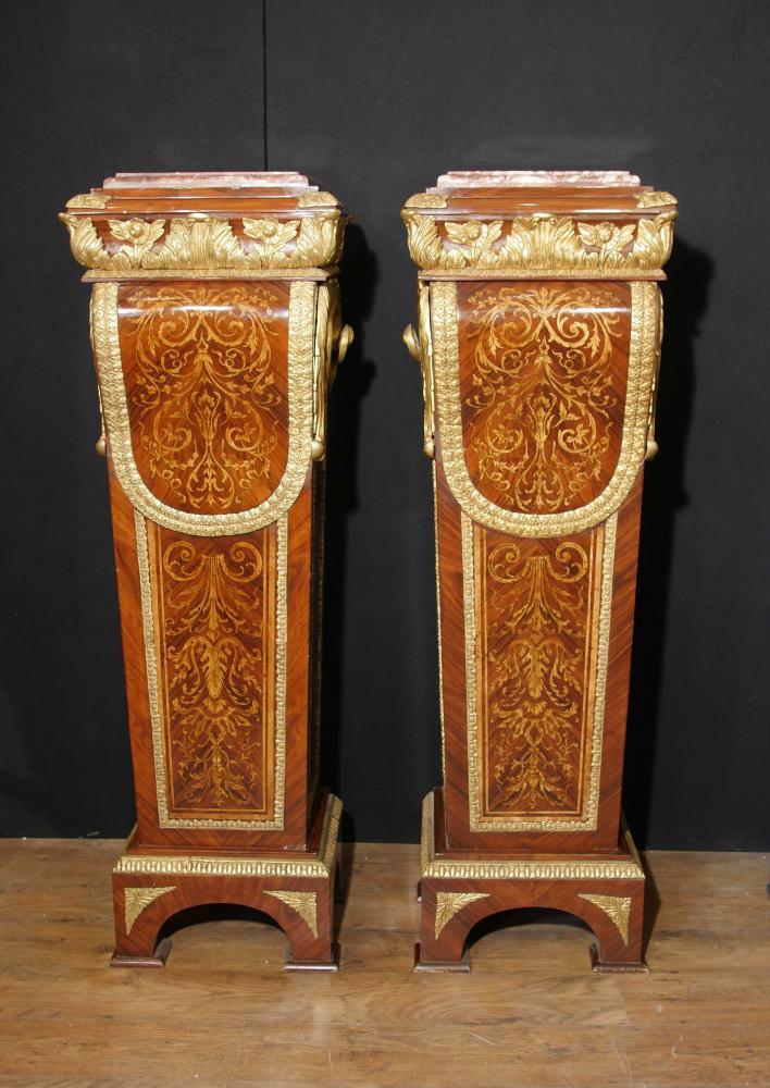 Paar Französisches Reich Kingwood Sockel Tischständer Intarsieneinlage