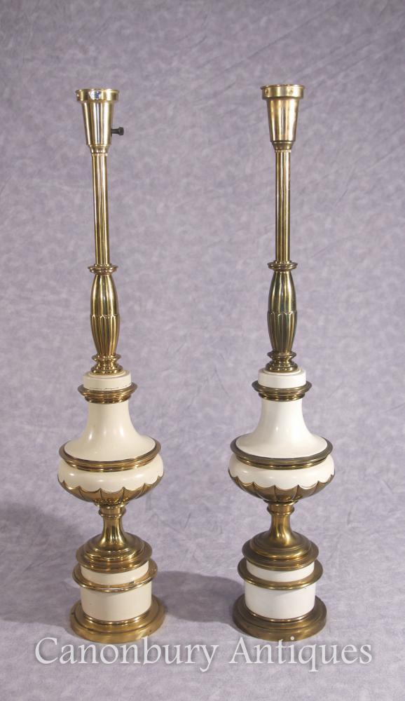 Paar französische Reich-Porzellan-Lampen-Unterseiten-Tabellen-Lichter