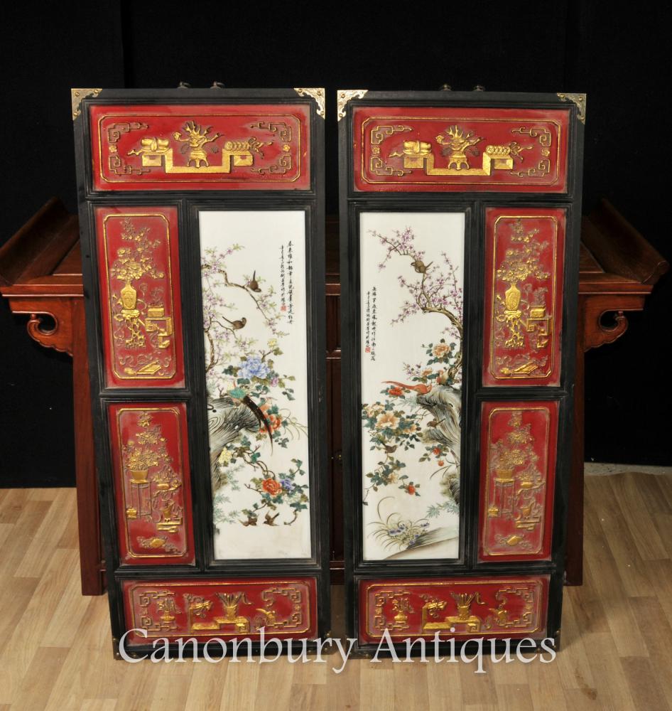 Paare Chinesische Qianlong keramische Plaketten-Abbildungen Handgemaltes Porzellan