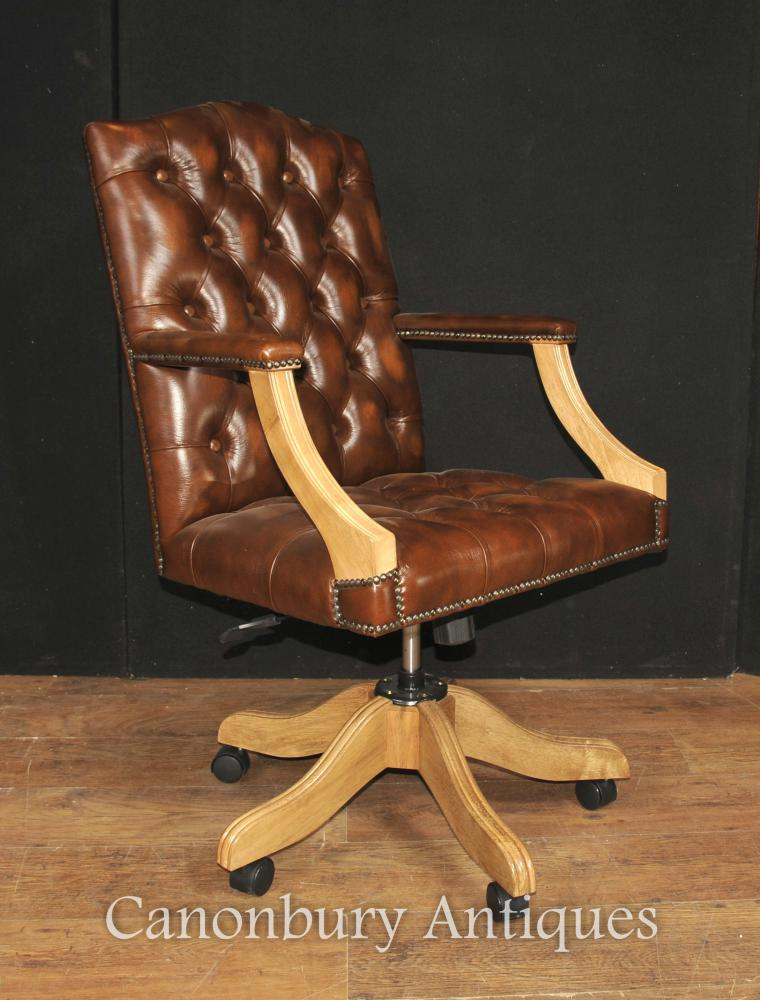 Regency Captains Büro Schreibtisch Stuhl Arm Stuhl Tiefe Knopfleder