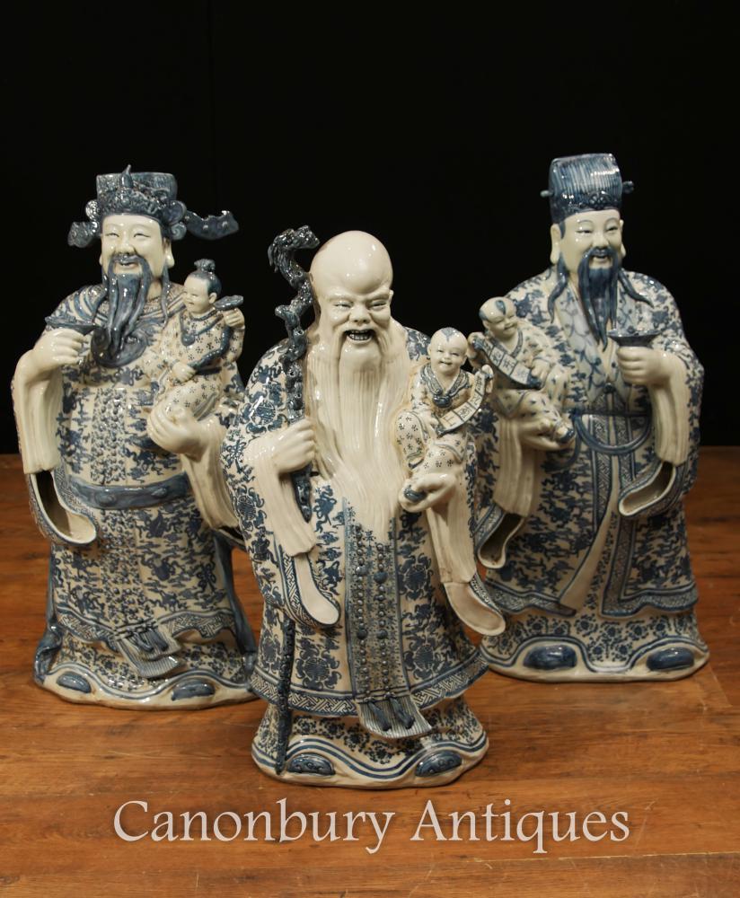 Set Chinesisch Blau und Weiß Nanking Porzellan Wise Men Figurinen