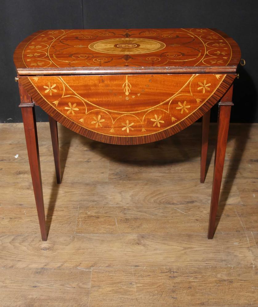 Sheraton Mahagoni Pembroke Tisch-Tropfen-Blatt-Tabellen Einlegearbeit-Intarsien