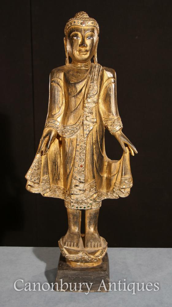 Vergoldete Hand geschnitzte stehende Buddha-Statue tibetanische buddhistische Kunst