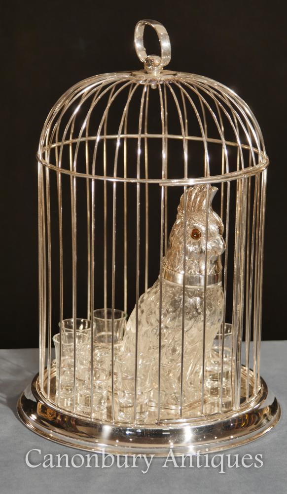 Viktorianische Silber Platte Eingerichtet Parrot Dekanter Schnapsglas Set