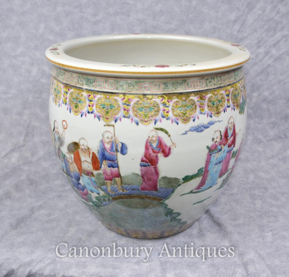 Chinesisches Qianlong Porzellan-Pflanzer-Schüssel handgemalt