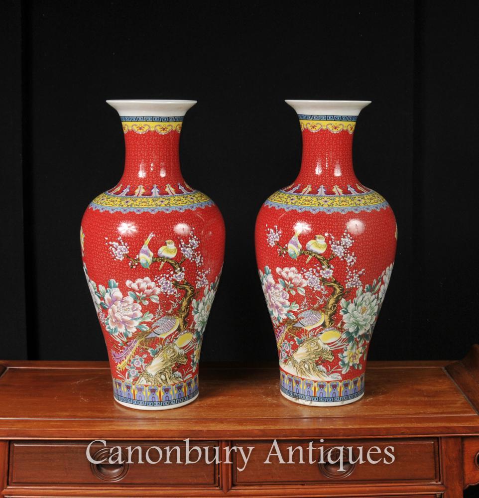 Paar Chinesisch Jiaqing Porzellan Vogel Vasen Imperial Red