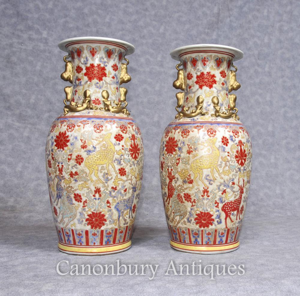 Paar Chinesische Celadon Porzellan Vasen Urnen Handgemalte Hirsche
