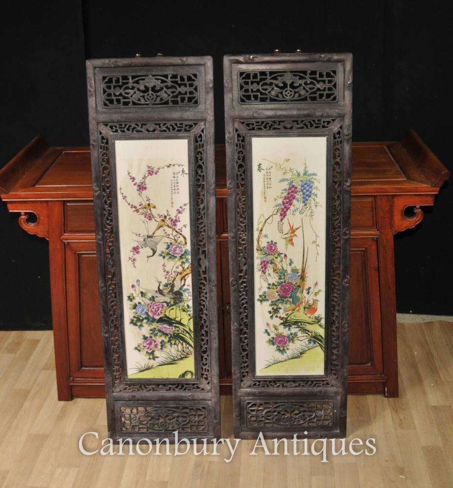 Paar Chinesische Kangxi Porzellan Vogel Plaques Gemälde Bildschirm