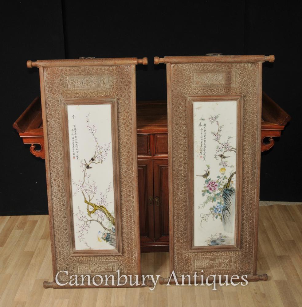 Paar Chinesische Wucai Porzellan Vogel Plaques Bildschirme Gemälde Hand geschnitzten Rahmen