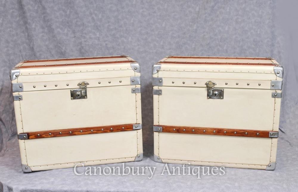 Paar Dampfer-Stamm Englisch Leder Gepäckboxen Hüllen Tische