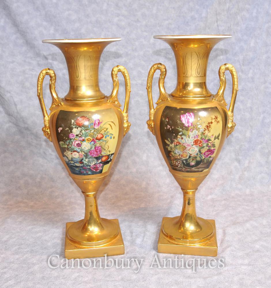 Paar Dresden Deutsch Porzellan Blumenvasen Amphora Urnen