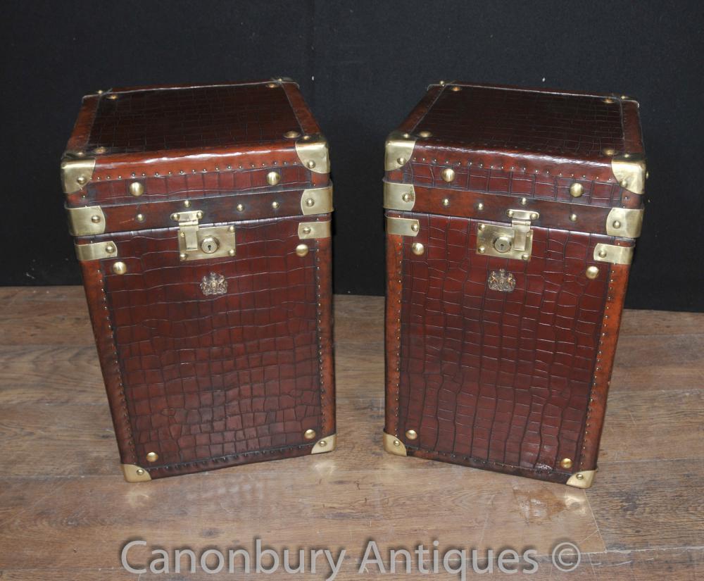 Paar Englisches Leder-Gepäckkasten Dampfer-Stamm-Tabellen-Kasten-Krokodil