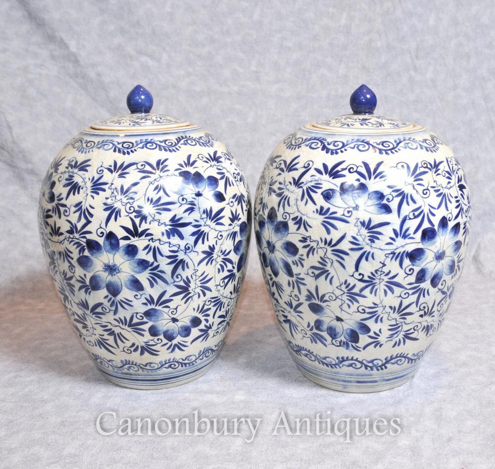 Paar Kangxi blau und weiß Porzellan Urnen Vasen Deckel Töpfe