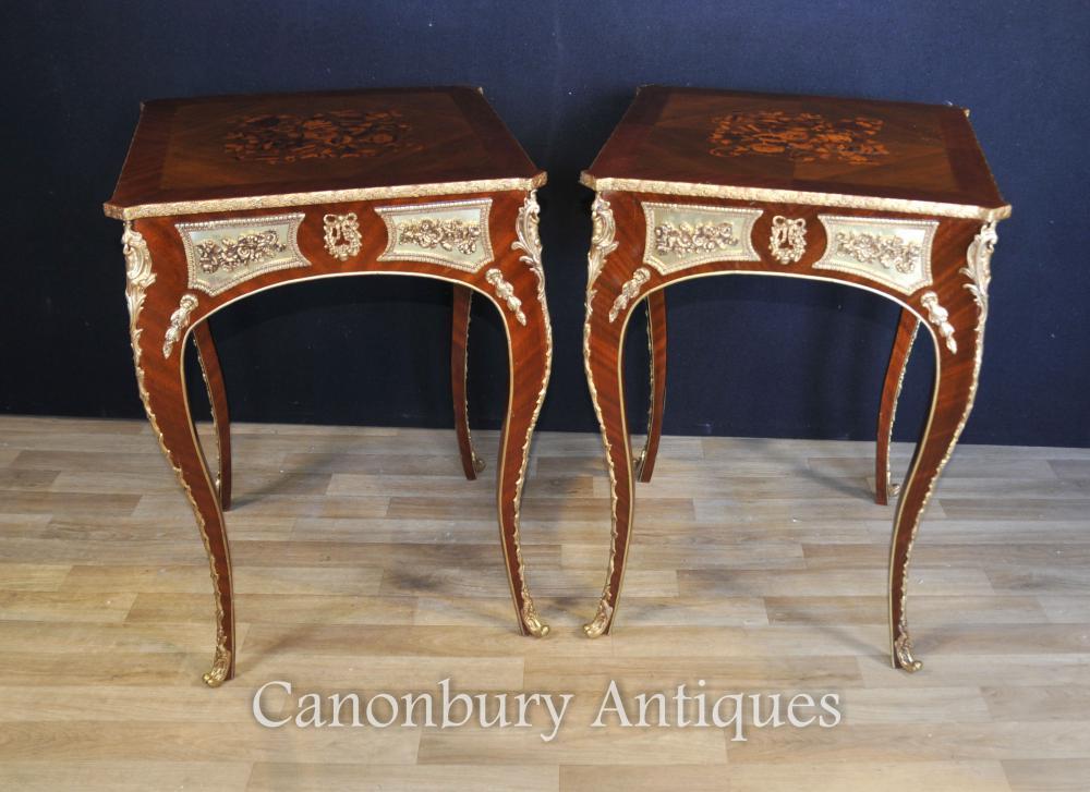 Paar Louis XVI Beistelltische Französische Möbel-Intarsien-Einlegearbeit