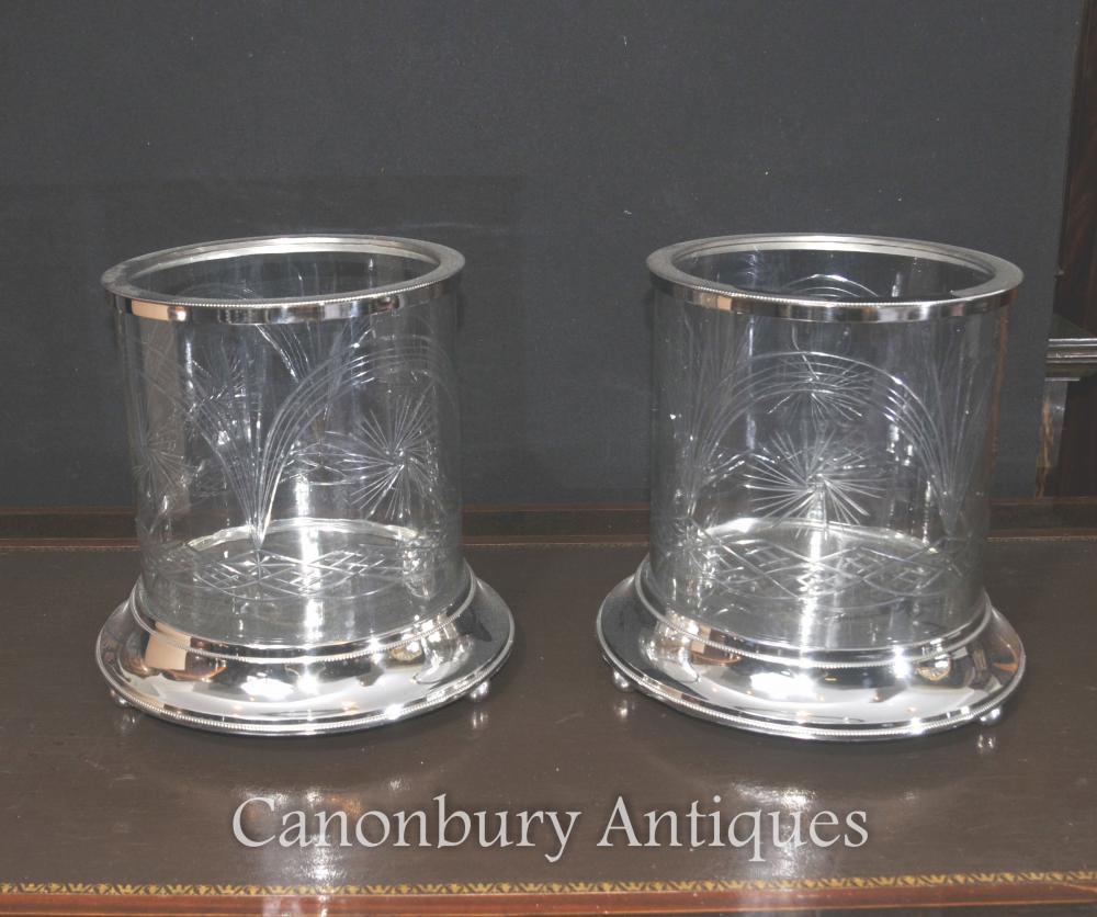 Paar Victorian silberne Platte Cut Glasvasen Urnen Pflanzenkübel