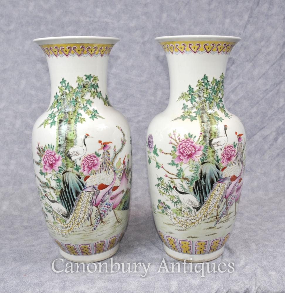 Paar chinesische Familie Verte Qing Urnen Fasan-Vogel Vasen