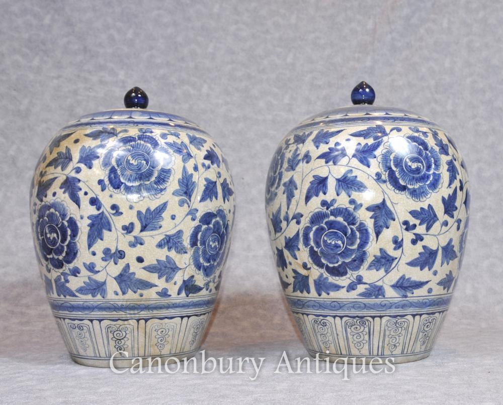 Paar chinesische blaue und weiße Porzellan-Vasen Urnen Lidded Töpfe Ovoid