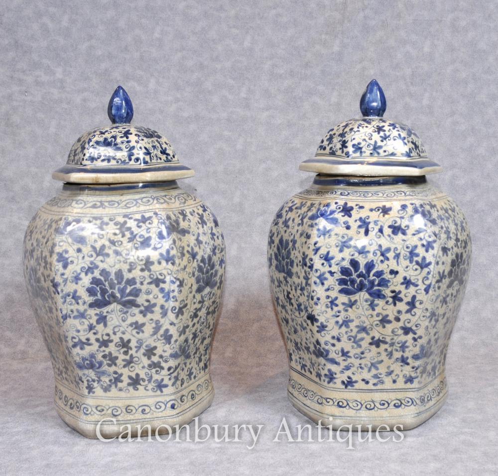 Paar chinesischen Nanking Porzellan Ingwer-Gläser Vasen Urnen Tempel