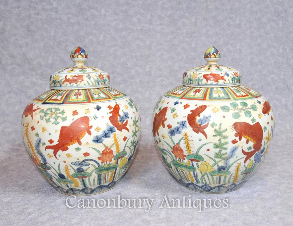 Paar chinesischen Qing-Porzellan Gläser Schüsseln Vase aus Keramik Urnen Keramik China