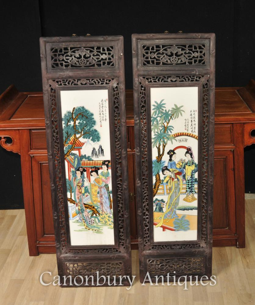 Pair Hand Painted Chinese Famile Rose Porcelain Plaques Kimono Lady Architectural