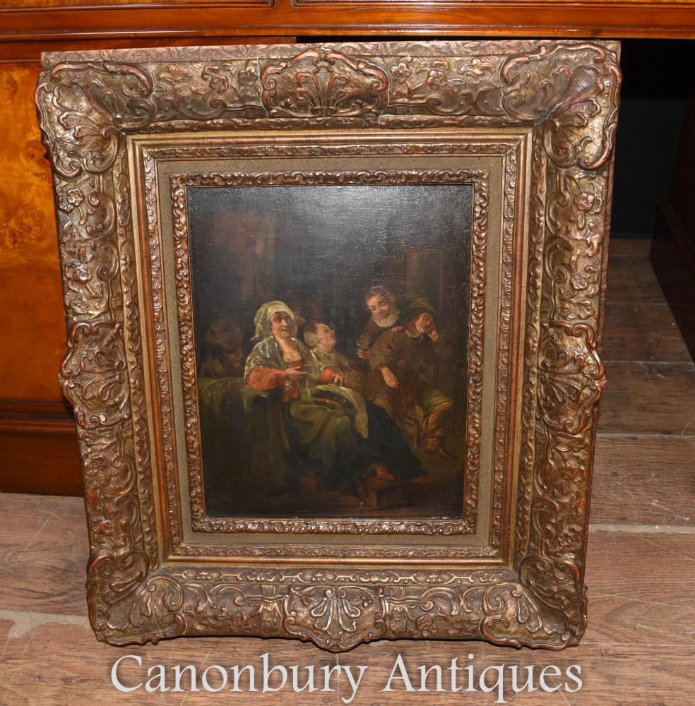 19. Jahrhundert Antike niederländische Ölgemälde Familie Porträt 1880
