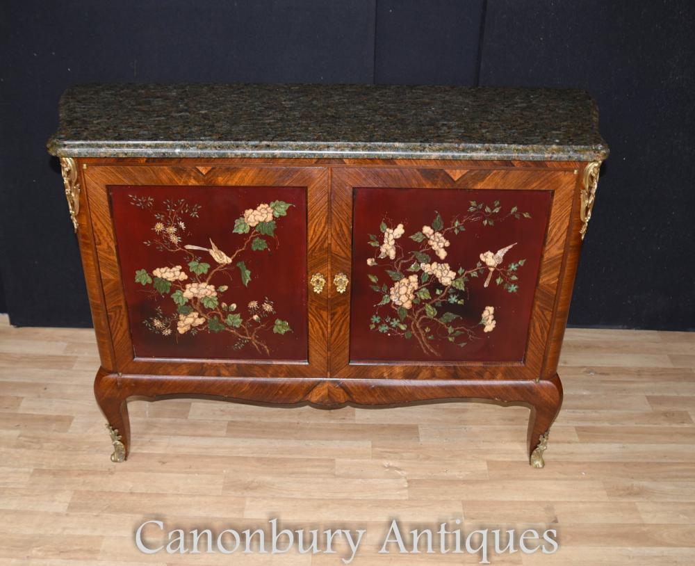 Antike französische Kabinett Kommode Lack Marquetry Inlay 1880